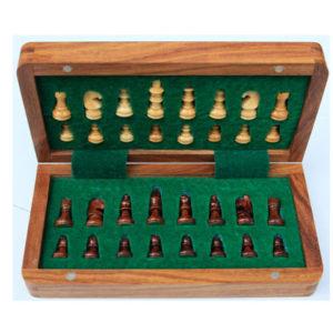 Coffret bois échecs de voyage