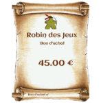 ond'achat 45€ chez Robin des Jeux Paris