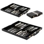 Backgammon façon cuir noir & blanc